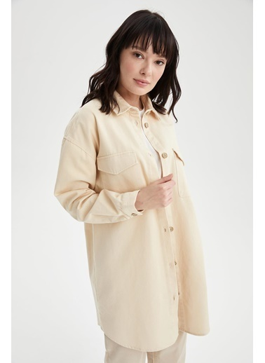 DeFacto Cep Detaylı Relax Fit Gömlek Tunik Ekru